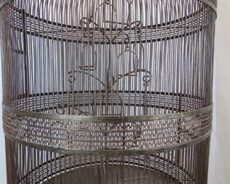 ITEM--371-- 2 part  Large contemporary metal bird cage on -stand. PIC 2