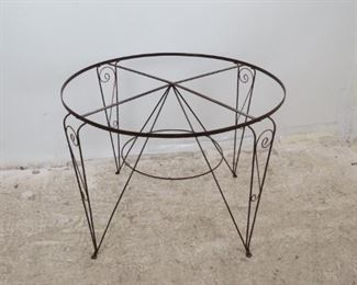 ITEM--371-- 2 part  Large contemporary metal bird cage on -stand.  PIC 3