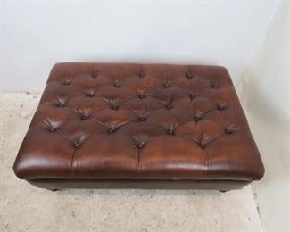ITEM- 373--contemporary tufted large leather ottoman. PIC 2