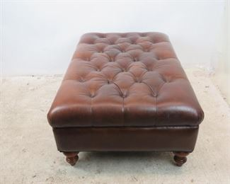 ITEM- 373--contemporary tufted large leather ottoman.  PIC 4
