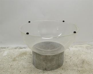 ITEM 376-- 2 part MCM sheet metal and plastic table base or planter. Inside plastic bowl has a lot of scratches, water stain. bowl has rubber feet or spacers. PIC 2