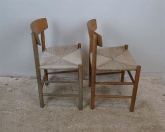ITEM- 378 - pair of MCM oak chairs with woven rope seats. finish is worn.  PIC 2