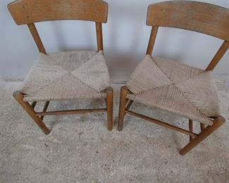 ITEM- 378 - pair of MCM oak chairs with woven rope seats. finish is worn. PIC 3