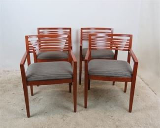 """ITEM- 379- Set of 4 Knoll """"Ricchio"""" designed arm chairs. has some nicks and scratches from normal use.  21.75"""" wide, 23"""" deep, 31.75"""" high. 18"""" high to seat.  $300.00"""