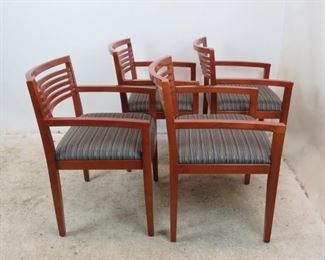 """ITEM- 379- Set of 4 Knoll """"Ricchio"""" designed arm chairs. has some nicks and scratches from normal use.  PIC 2"""