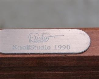 """ITEM- 379- Set of 4 Knoll """"Ricchio"""" designed arm chairs. has some nicks and scratches from normal use. PIC 3"""