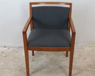 """ITEM-380- Knoll """"Ricchio"""" designed upholstered arm chair. Minor surface imperfections from normal use. 21.75"""" wide, 23"""" deep, 31.5"""" high.  17.5"""" high to seat.  $95.00"""