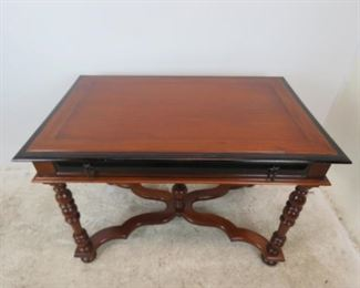 ITEM-381-- mahogany library / console with ebonized trim , turned legs and 1 drawer.  PIC 2