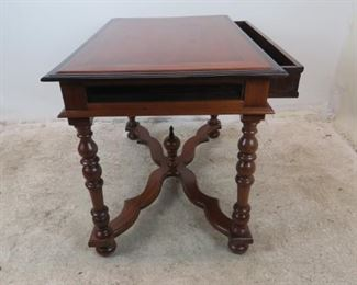 ITEM-381-- mahogany library / console with ebonized trim , turned legs and 1 drawer.  PIC 3
