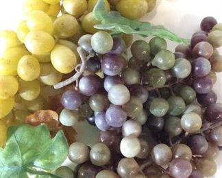 Lot 3 Centerpiece Grapes On Vine Clusters, Vintage