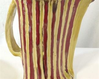 Artist Signed Glazed Ceramic Pitcher