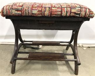 THE FAVORITE Antique Needlepoint Sewing Bench