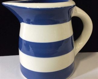 TERRAMOTO Blue White Striped Ceramic Pitcher