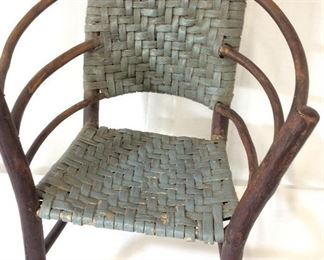 Vintage Child's Basket Weave Wood Chair