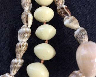 Lot 3 Shell & Bead Necklaces, Vintage