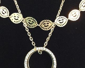 Lot 3 Gold Tone Necklaces, ladies costume jewelry