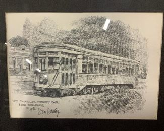 Print of a Pencil Drawing, Don Davey Street Car
