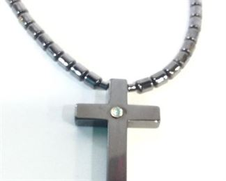 Hematite Bead & Cross Pendant Necklace