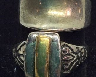 2 Silver Toned Fashion Rings, Vintage