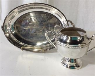 Set 2 Sheets Rockford Plated Sugar & Serving Bowl