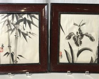 Pair East Asian Styled Framed Prints