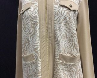 Susan Graver Beige Knit Sweat Jacket