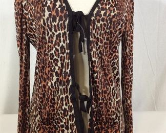 Animal Print Slinky Fabric Cardigan