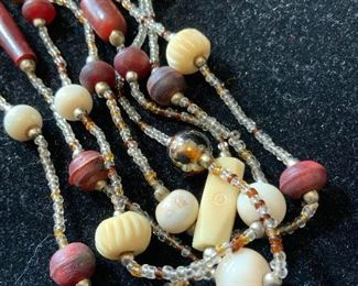 Vintage bead Necklace, multi material