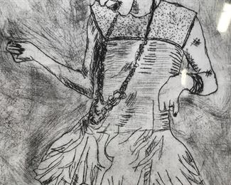 Etching of Girl in Dress