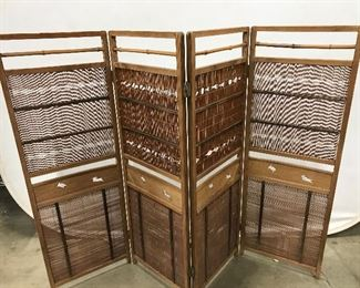 Vintage Four Panel Room Divider 4 ft H