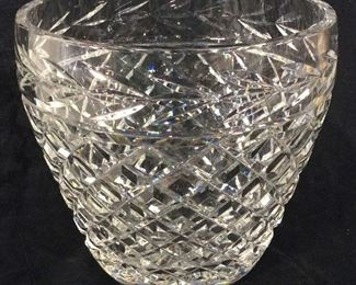 Lead Crystal Diamond Pattern Vase Vessel