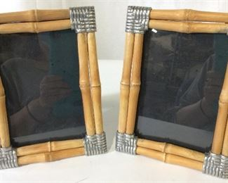 Pair Bamboo & Metal 5x7 Picture Frames