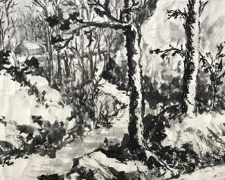 Japanese Ink Wash Painting Landscape