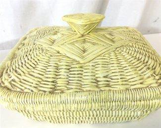 Handmade Ceramic Wicker Basket Vessel, Italy