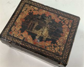 Painted Lacquered Asian Trinket Box