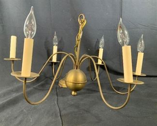 Vintage Brass Orb Center 6 Arm Chandelier