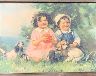 Painted Portrait of Children Playing