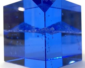 Signed Cerulean Art Glass Cube Shaped Paperweight