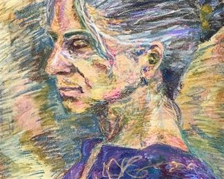 Pair Signed Pastel Portraits on Paper