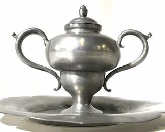 Lot 2 Signed Handled Pewter Vessel & Plate