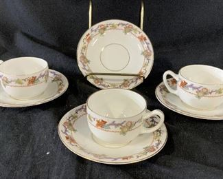 Set 7 Antique Demitasse Cups and Saucers