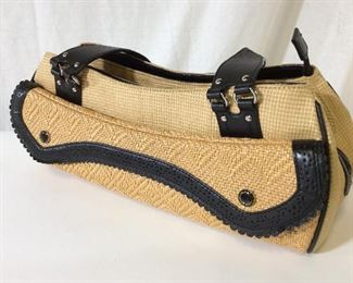 Cole HAAN 'Megan Straw' Woven Shoulder Purse