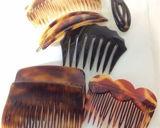 Set 6 Tooth Hair Combs, Barrette, France
