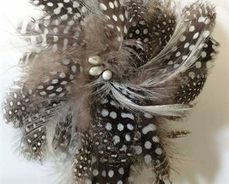 Natural Spotted Feather Brooch Pin