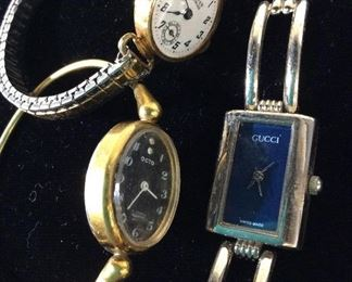 Lot 3 Designer Vintage Metal Wrist Watches, Gucci