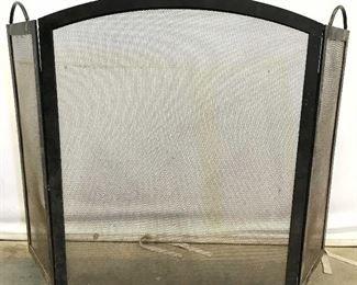 Vintage Black Toned Folding Metal Fireplace Screen