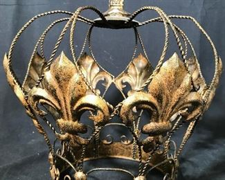 Fleur De Lis Gold Toned Decorative Metal Crown