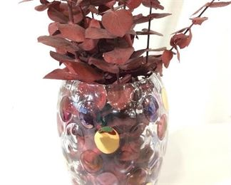 Decorative Orb Design Glass Vase RED Eucalyptus