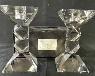 Boxed Pair Oleg Cassini Crystal Candle Sticks