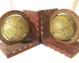 Pair Vintage Decorative World Globe Bookends